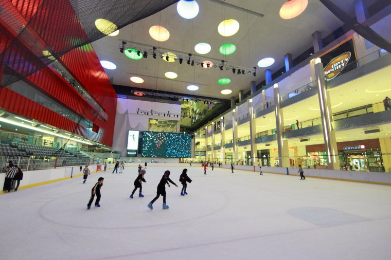 People on the ice rink in the Mall of Dubai, United Arab Emirates